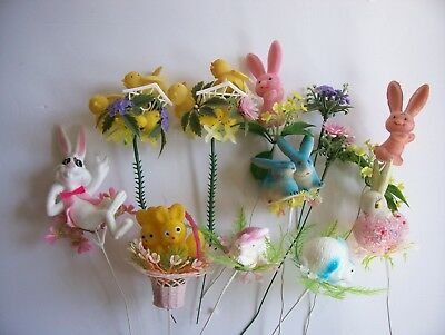Vintage 12 Rabbit Easter Bunnies Decorations Flocked and Plastic Wire Stem Picks