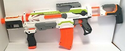 Nerf N-Strike Modulus ECS-10 Blaster with Barrel, Clip, Stock, and Grip.