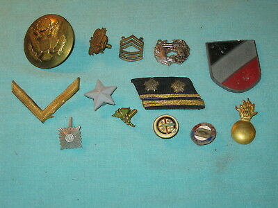 Lot of 13 Original WWII US Army Navy INSIGNIA PINS RANK BADGES See Photos GG