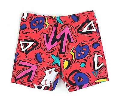 Vtg 80s 90s Catchit Men's Made in USA Unlined Swim Trunks Grunge Colorful Sz 32