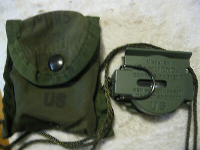 Tritium Lensatic Compass Model 3H Cammenga Olive Drab US Army Issue 10/02/77