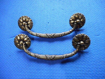 "Pair of Vintage Brass Furniture Drawer Dresser Pulls (5.75"" C to C) Keeler Co"