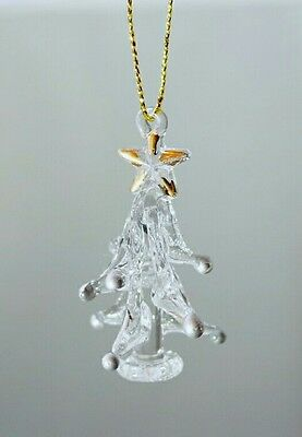 "Glass Christmas Tree 2"" Mini Ornament Silver Ball Gift Stocking Stuffer"