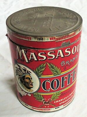 Massasoit Coffee Tin Paper Covered Old Vtg Antique