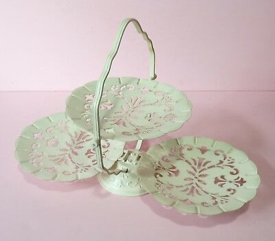 Shabby Chic 3 Tier Folding Metal Server - Off-White Color
