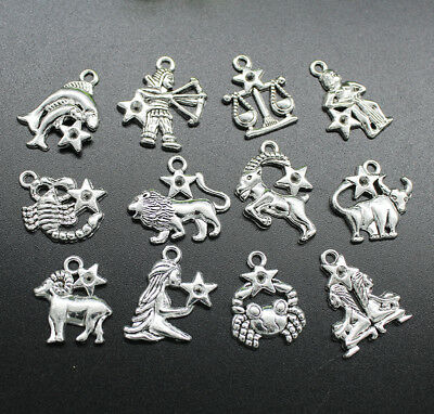 Wholesale 12 Constellation Retro Alloy Charms Pendants Jewelry DIY