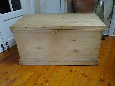 Beautiful 3+ ft Antique Stripped Pine Blanket Box, Chest, Coffee Table,Victorian