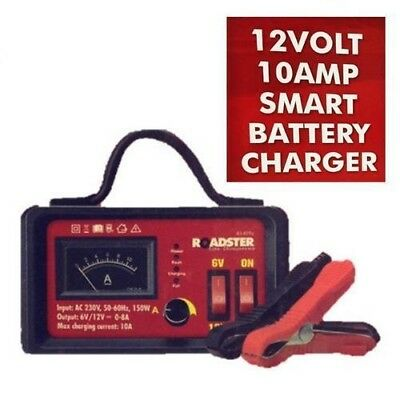6v, 12v - 10 Amp Heavy Duty Smart Intelligent Automatic Battery Charger