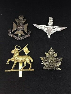 Wwii Era British Military Lot Of 4 Royal Air Force Hat Badges Insignia .