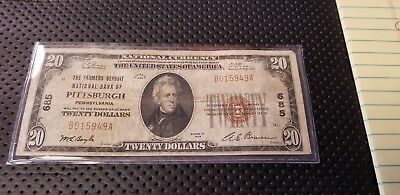 1929 $20 National Currency Bank Note Farmers Deposit National Bank of Pittsburgh