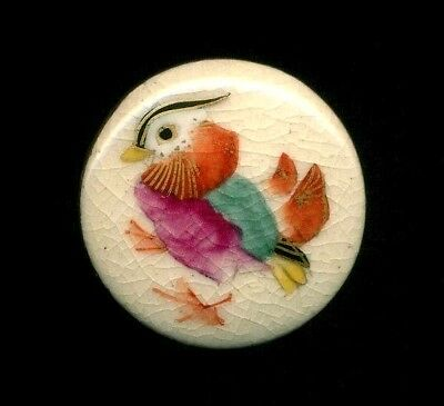 Antique Vintage Japanese Porcelain Satsuma Porcelain Button…Colorful Bird