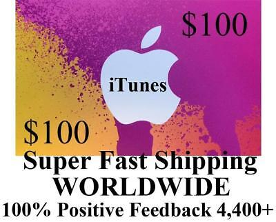 $100 APPLE US iTUNES APP STORE CARD gift certificate FAST worldwide shipping