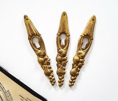 Fruit 3 antique brass escutcheon Door drawer furniture supply Wood project 4.13""