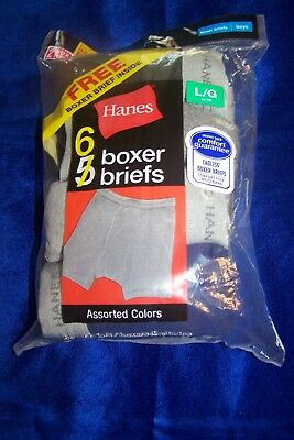 Hanes, Boys Boxer Briefs Size L (14-16) Tagless (6 Assorted Colors)