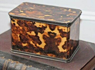 Rare Antique 19th Century Faux Tortoiseshell Tea Caddy Victorian Box