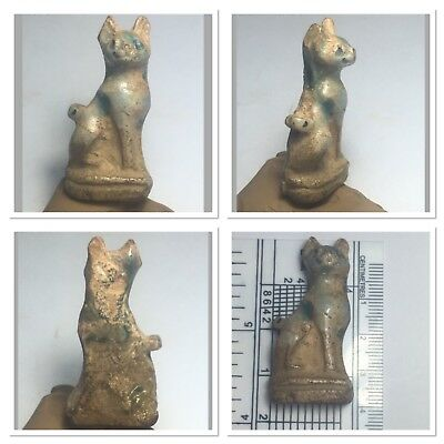 amazing Egyptian faience cat standing position