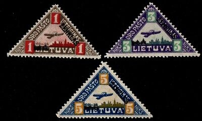 Lithuania. 1922 Airmail. Sc. C15-17. MH