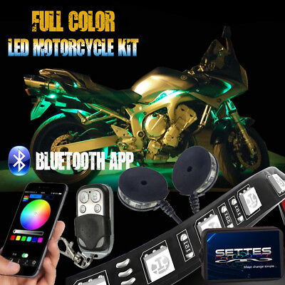 12PCS PHONE APP control Motorcycle LED Neon Accent Under Glow Kit