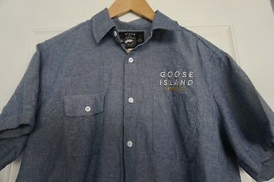 Goose Island Beer Co. Short Sleeve Button Up Shirt Men's size L