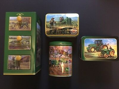 Four John Deere Tins, Cabinet, Hinged, Removable top, Multihole Canister, V Good