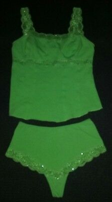 Women's Guess Intimates Green Tank Top and Cheeky Bottom Sleep Set Size S