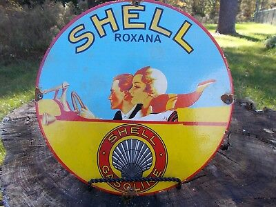 Rare 1949 Shell Roxana Gasoline  Porcelain  Gas Pump Sign, Great Colors