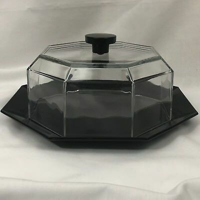 """Luminarc Arcoroc Octime France Black Octagon Glass 12"""" Covered Cake Plate Dome"""
