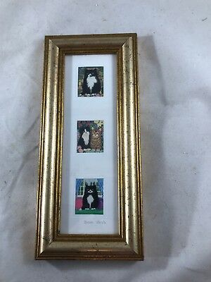 "Miniature Cat Prints By Jervis ~ Matted & Gold Frame ~ 8"" X 3.75"""