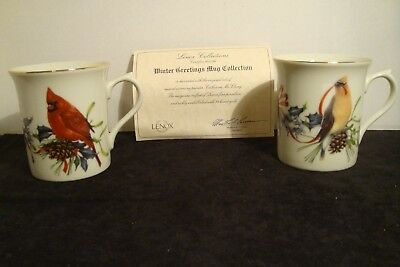 Set of  2 Lenox Porcelain Winter Birds Greetings Mug Collection by C. McClung