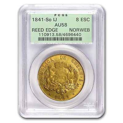 1841-So IJ Chile Gold 8 Escudos AU-58 PCGS - SKU#176173