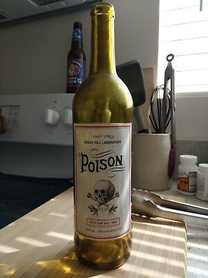 Poison Wine Bottle - Vintage Style - Halloween Decorations - Hand Made - Skull
