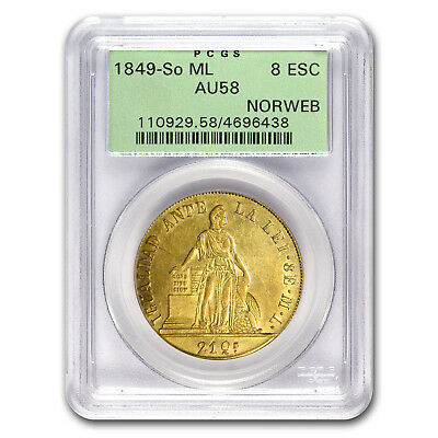 1849-So ML Chile Gold 8 Escudos AU-58 PCGS - SKU#176170