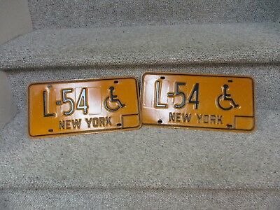 A++ 1973 New York Nyc Pair Handicapped Wheelchair Vanity License Plates  L - 54