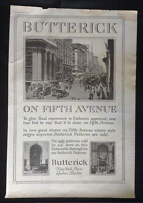 1916 Magazine Ad ~ Butterick Sewing Patterns ~ Fifth Ave Vintage Car Photo NY