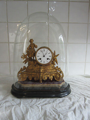 Wonderful Victorian French Spelter Bell Chime clock Under Dome