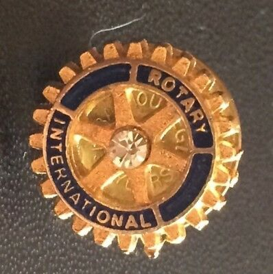 "Small Rotary International ""Rotary Wheel"" w/ Rhinestone Lapel Hat Pin RARE"