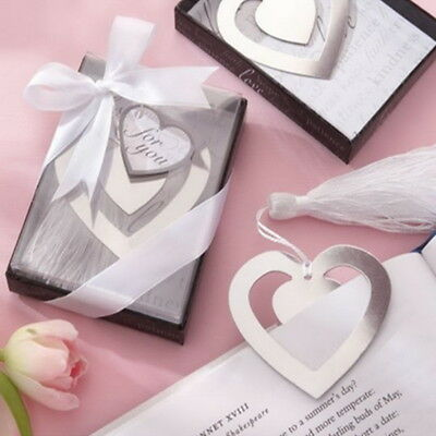 1PC Stainless Steel Heart Personalised Bookmark Silver Tone Present Gift
