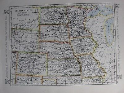 1912 Map ~ United States North West Central Nebraska Kansas Colorado Wyoming