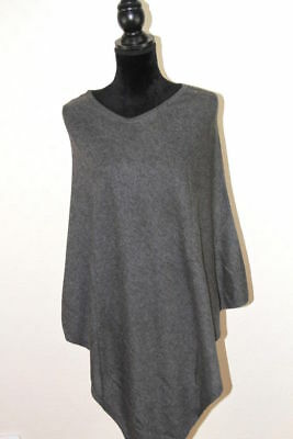 Cashmere Poncho Traveller Wrap Cardigan Pashmina Sweater Dark Grey Nepal