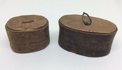 Lovely Antique Vintage Unusual Pair Of Small Wooden Snuff Box's