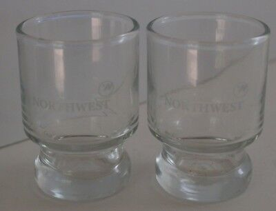 NORTHWEST ORIENT NWA  Airline Shot Glasses from First Class Pair of 2