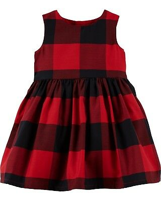 New Carter's Girls Holiday Dress Buffalo Red Black Plaid Christmas NWT 3T 4T 5T