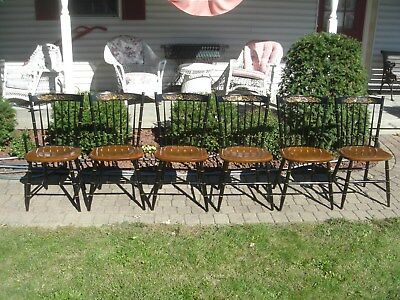 """Hitchcock Chairs Set 6 Black/Harvest Classic Country Side Chairs """"FREE"""" Shipping"""