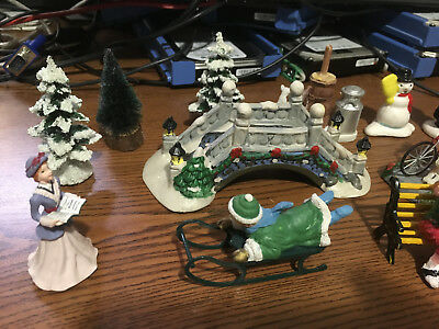 Christmas Village Accessories  Lot of 14 People & Accessories Use with Dept. 56