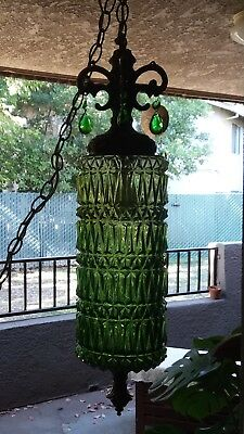 AWSOME Vintage MID CENTURY Green Prismed Glass Hanging SWAG Electric LAMP
