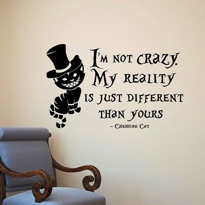 Cheshire Cat Alice In Wonderland 3D Torn Hole Ripped Wall Sticker Decal WT384