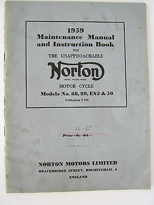 Norton Motorcycle - 1959 Maint Manual & Instruction Book models 99,88,ES2 & 50.
