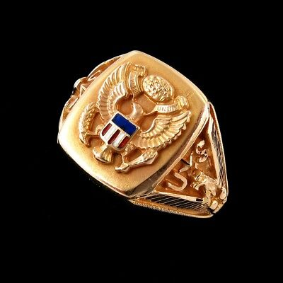 WWII 10k Gold & Enamel US Army Victory Ring
