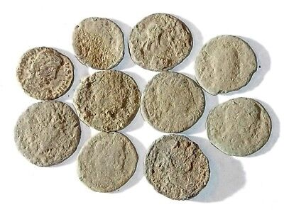 10 ANCIENT ROMAN COINS AE3 - Uncleaned and As Found! - Unique Lot 25917