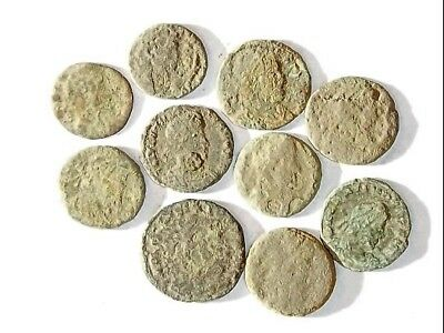 10 ANCIENT ROMAN COINS AE3 - Uncleaned and As Found! - Unique Lot 25927